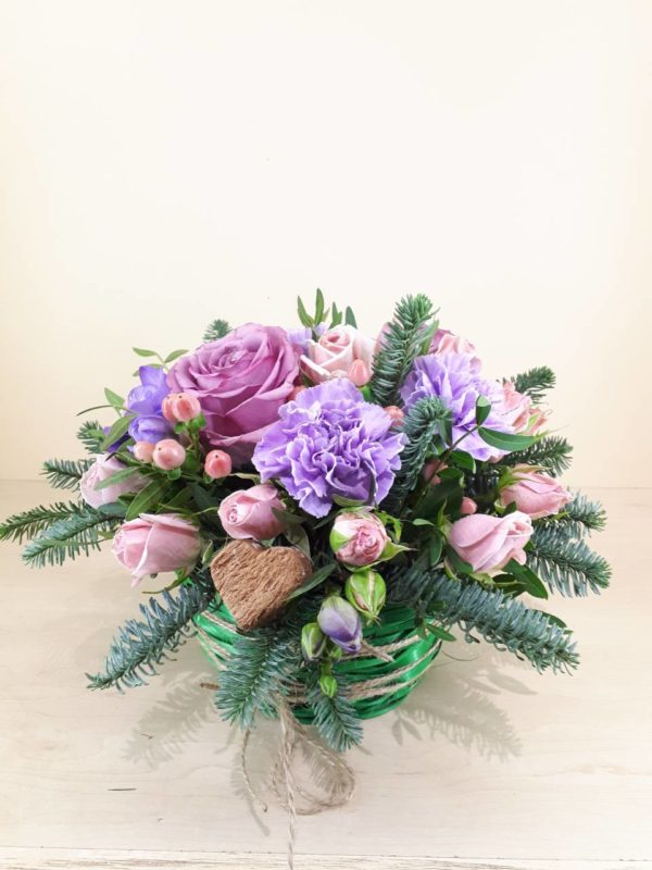 Новогодние букеты Розы и гвоздики M148
