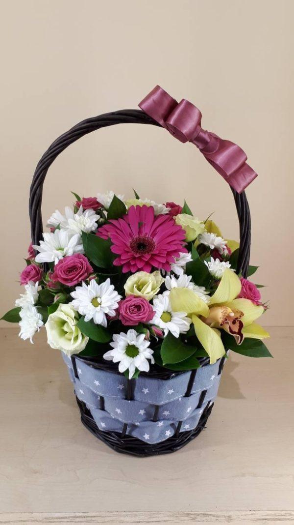 Букет из хризантем, орхидей, эустомы, гербера