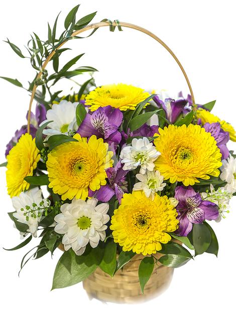 Букет из гербер, хризантем и альстромерий