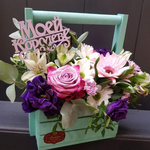 Букет из роз, хризантем, эустомы, гербера, альстромерий
