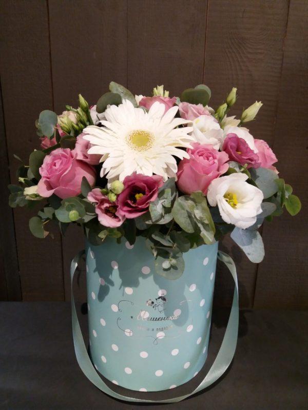 Букет из гербера, эустомы, роз, кустовой хризантемы