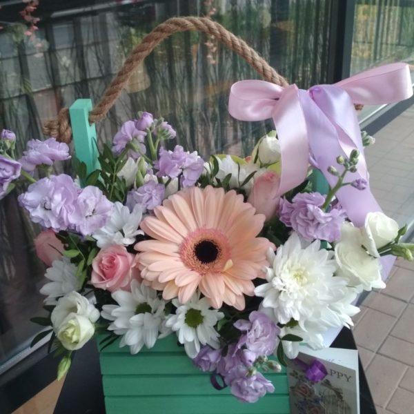 Букет из Гербера, матиолы, хризантем, эустомы, роз