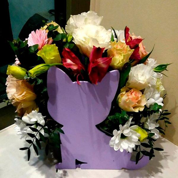 Букет из роз, хризантем, альстромерии, эустомы
